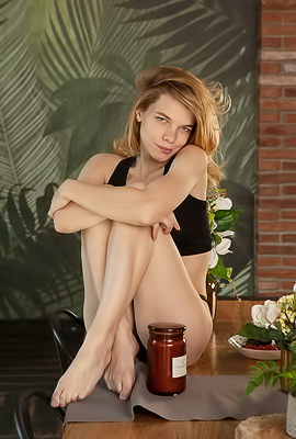 Russian Teen Galina Petrova In Black Lingerie